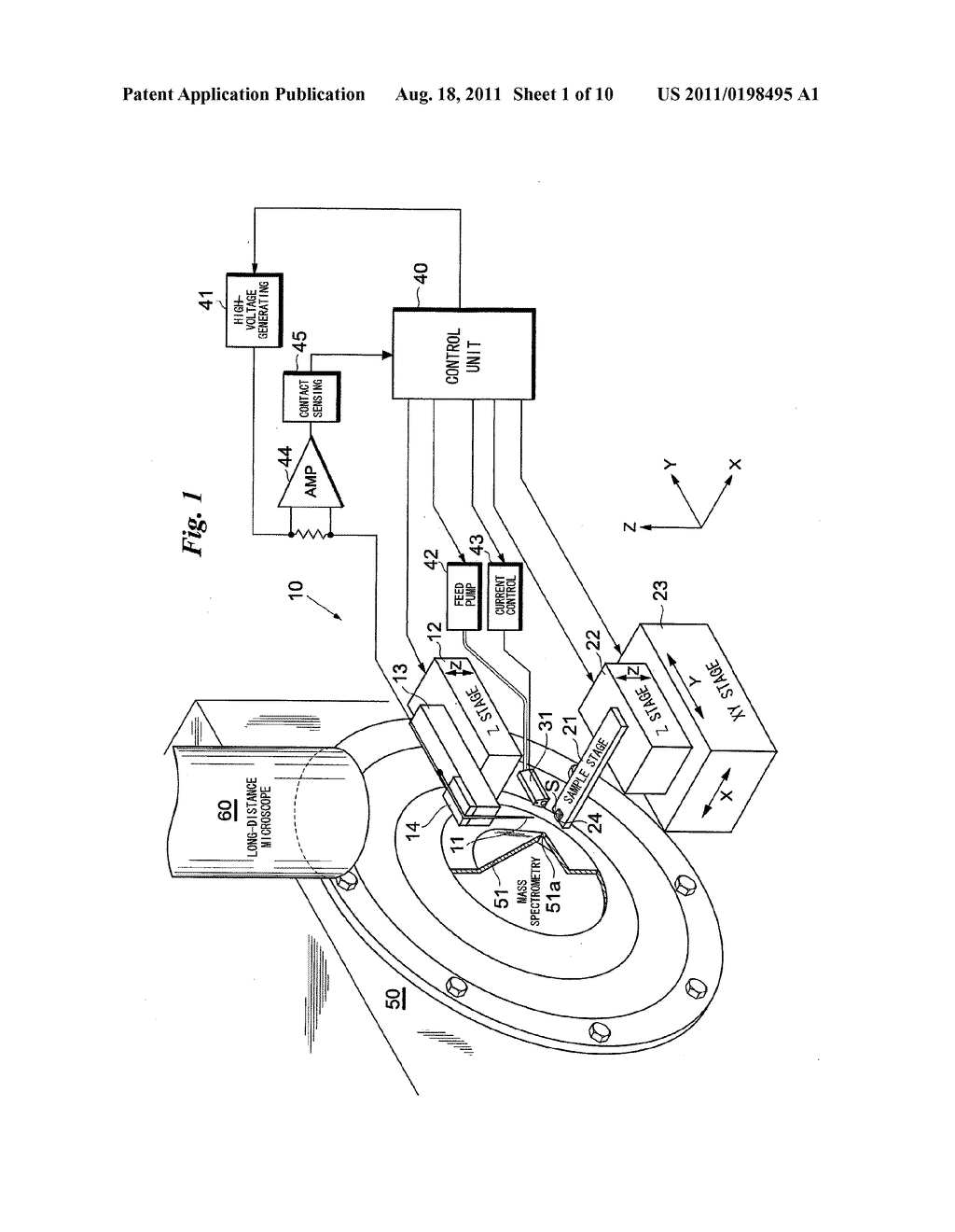 IONIZATION METHOD AND APPARATUS USING A PROBE, AND ANALYTICAL METHOD AND     APPARATUS - diagram, schematic, and image 02