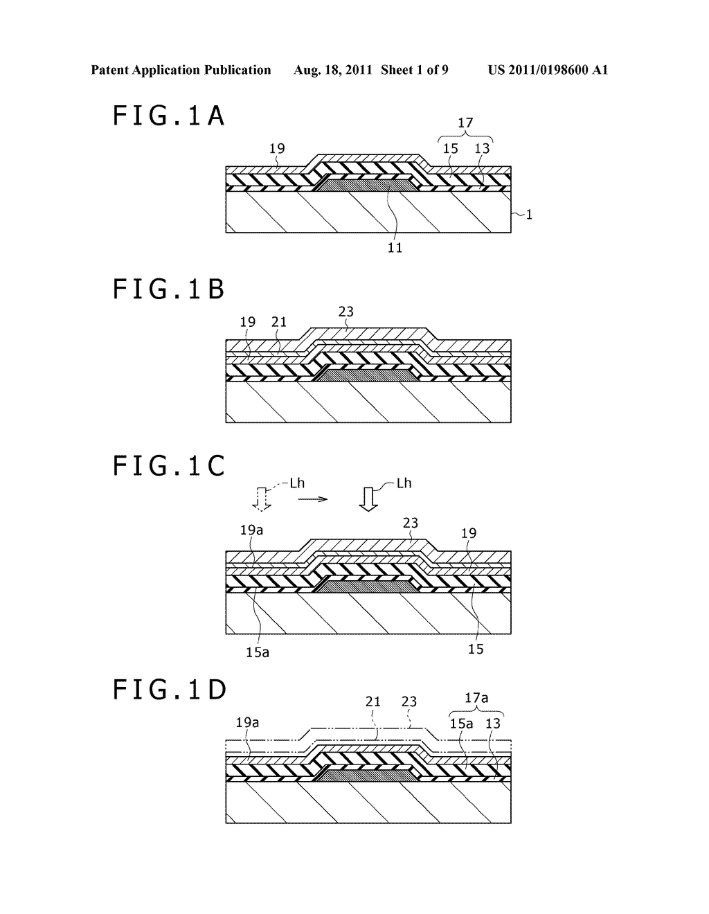 METHOD FOR MAKING SEMICONDUCTOR APPARATUS AND SEMICONDUCTOR APPARATUS     OBTAINED BY THE METHOD, METHOD FOR MAKING THIN FILM TRANSISTOR SUBSTRATE     AND THIN FILM TRANSISTOR SUBSTRATE OBTAINED BY THE METHOD, AND METHOD FOR     MAKING DISPLAY APPARATUS AND DISPLAY APPARATUS OBTAINED BY THE METHOD - diagram, schematic, and image 02