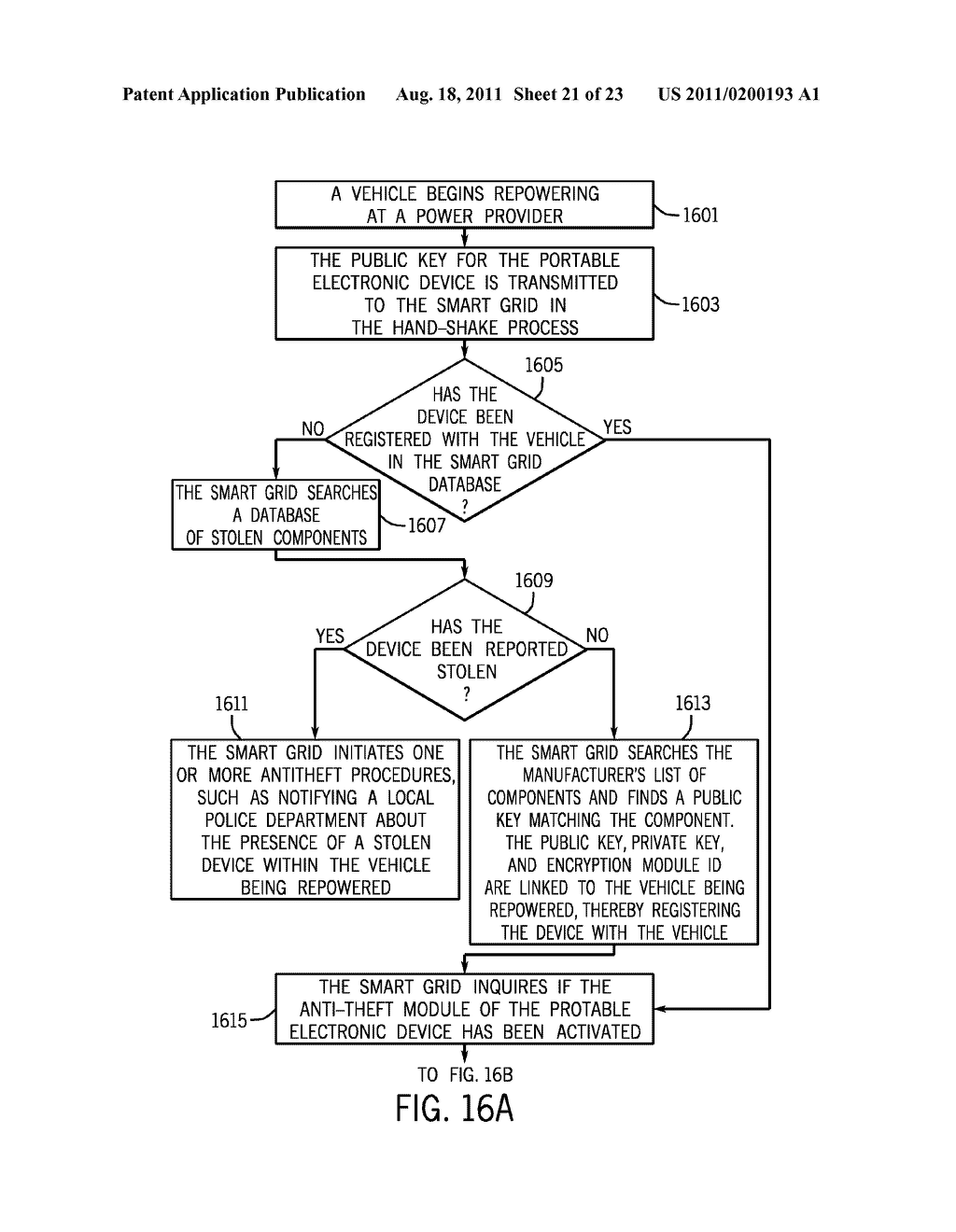 METHOD AND APPARATUS FOR CONTROLLING THE RECHARGING OF ELECTRIC VEHICLES     AND DETECTING STOLEN VEHICLES AND VEHICULAR COMPONENTS - diagram, schematic, and image 22