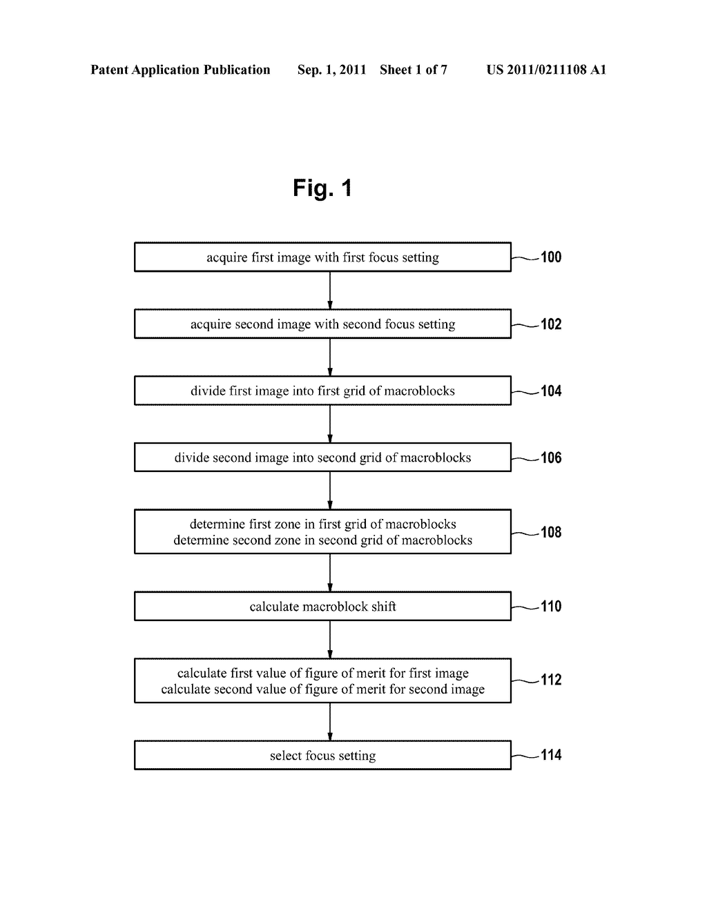 METHOD AND DIGITAL IMAGING APPLIANCE ADAPTED FOR SELECTING A FOCUS SETTING - diagram, schematic, and image 02