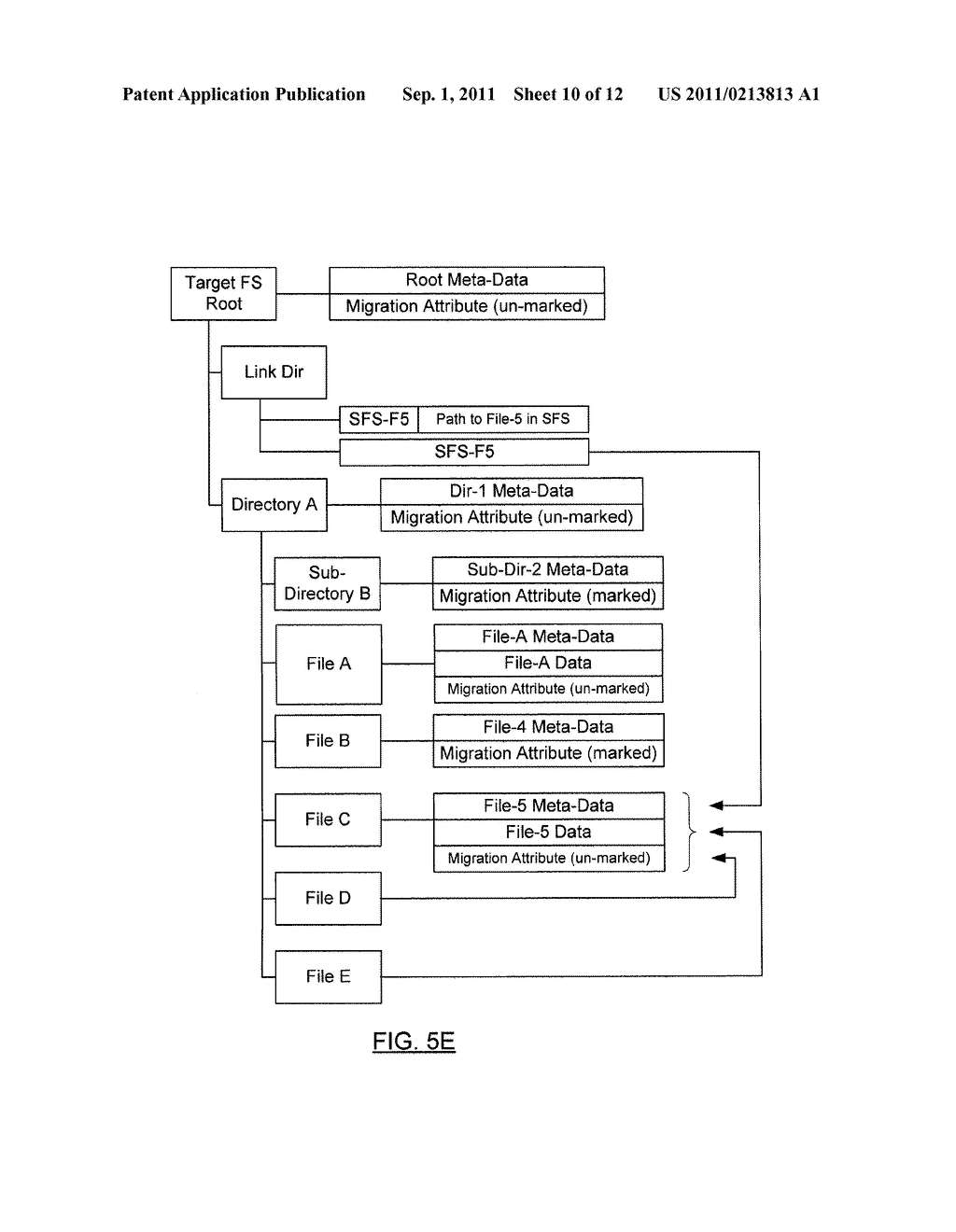 METHOD AND SYSTEM FOR PRESERVING FILES WITH MULTIPLE LINKS DURING SHADOW     MIGRATION - diagram, schematic, and image 11