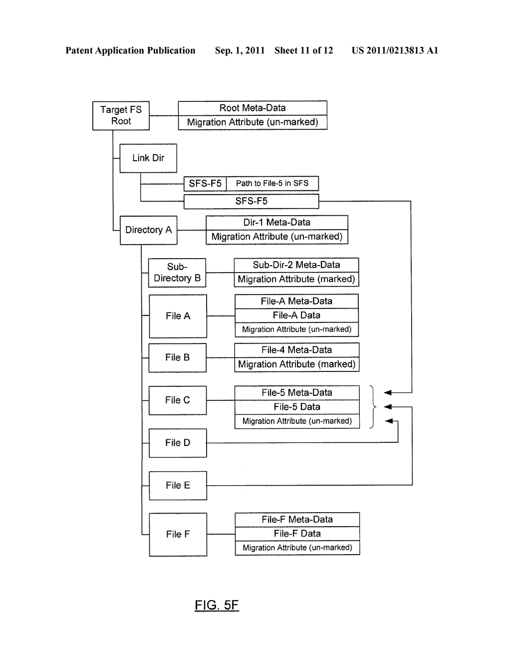 METHOD AND SYSTEM FOR PRESERVING FILES WITH MULTIPLE LINKS DURING SHADOW     MIGRATION - diagram, schematic, and image 12