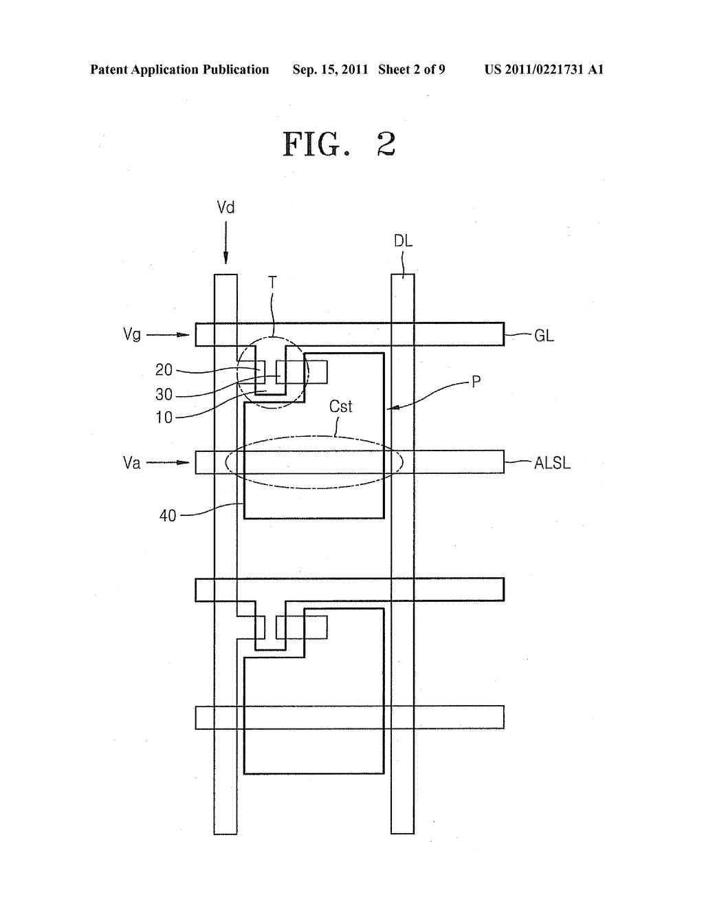 DISPLAY DEVICE HAVING INCREASED APERTURE RATIO - diagram, schematic, and image 03
