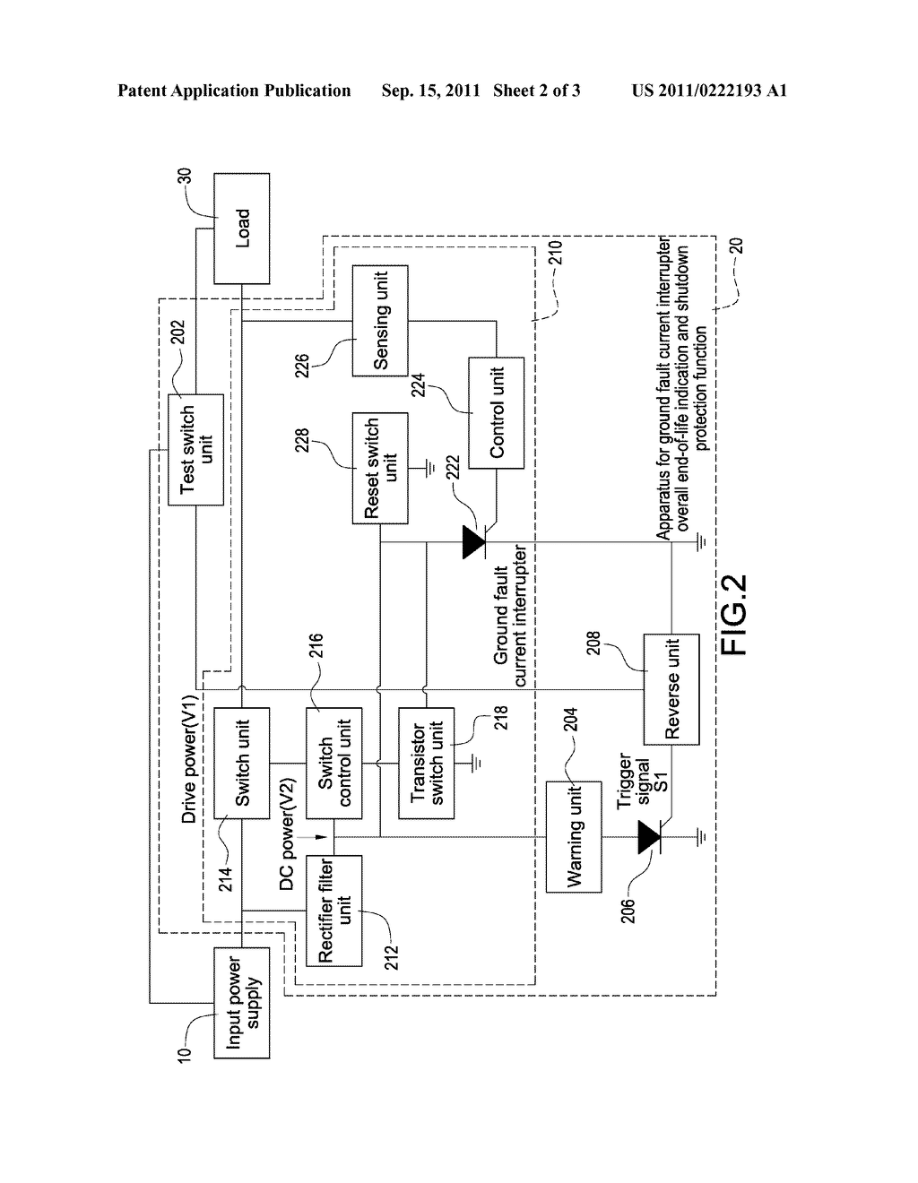 APPARATUS FOR GROUND FAULT CURRENT INTERRUPTER WITH OVERALL END-OF-LIFE     INDICATION AND SHUTDOWN PROTECTION FUNCTION - diagram, schematic, and image 03