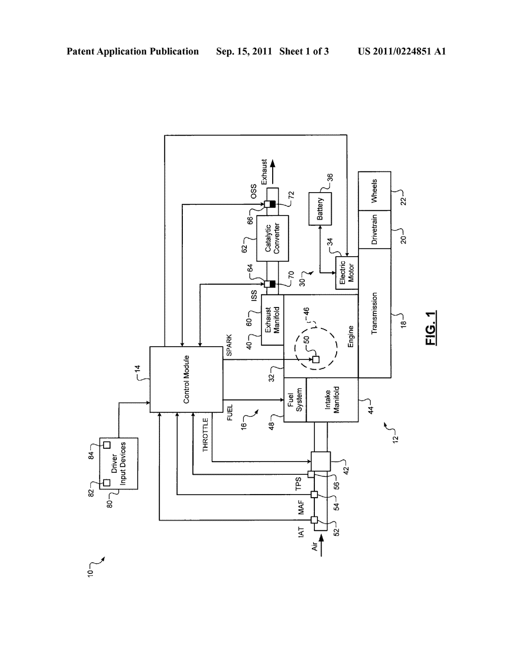 CONTROL SYSTEM AND METHOD FOR OXYGEN SENSOR HEATER CONTROL IN A HYBRID     ENGINE SYSTEM - diagram, schematic, and image 02