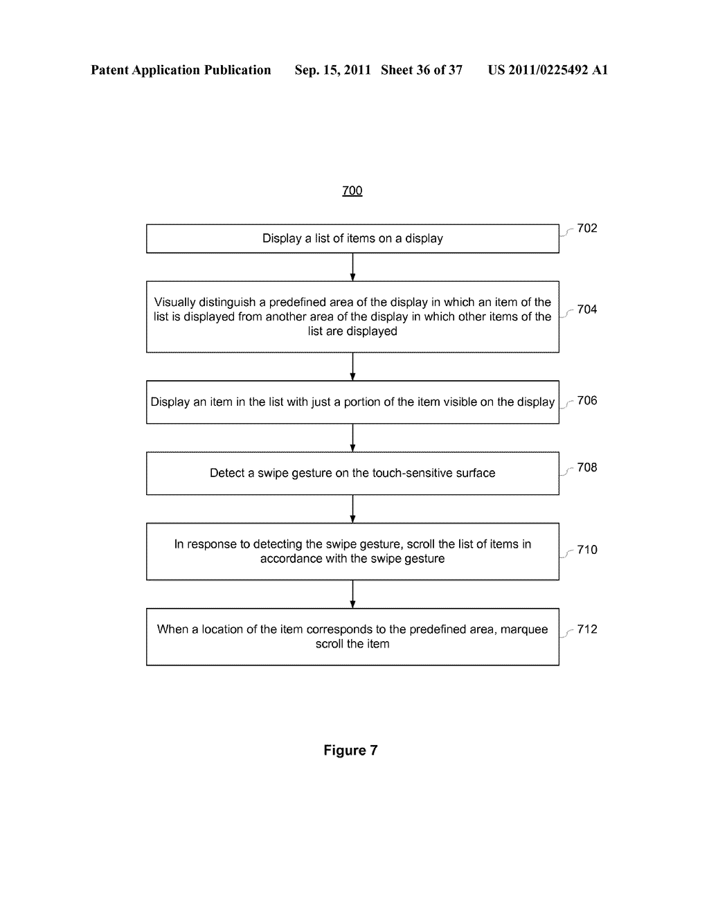 Device, Method, and Graphical User Interface for Marquee Scrolling within     a Display Area - diagram, schematic, and image 37