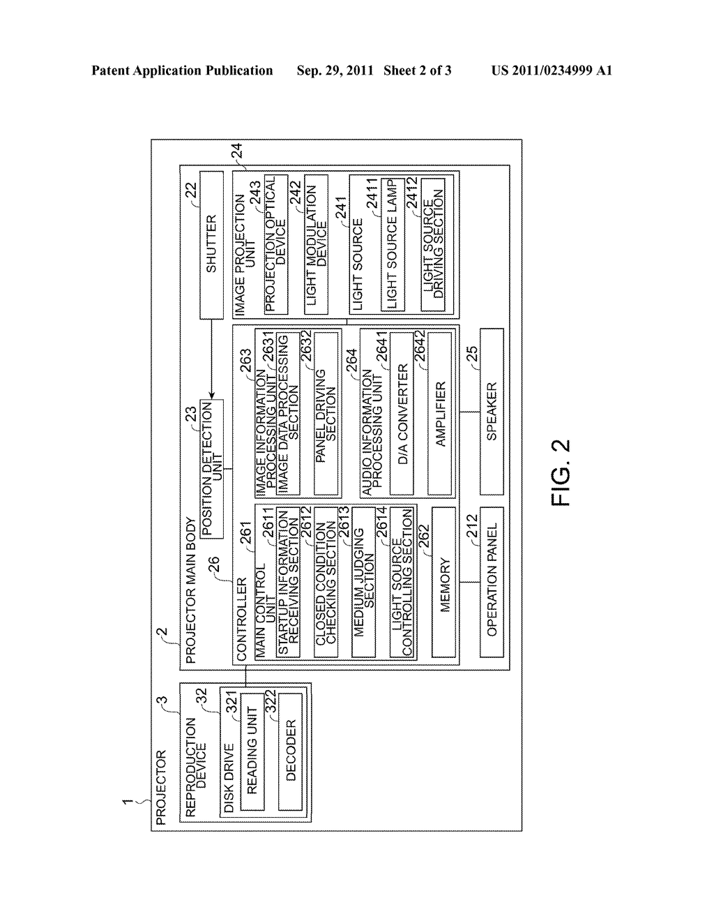PROJECTOR INCLUDING LIGHT SOURCE CONTROLLING SECTION FOR TURNING LIGHT     SOURCE ON AND OFF, CONTROL METHOD, CONTROL PROGRAM, AND RECORDING MEDIUM - diagram, schematic, and image 03