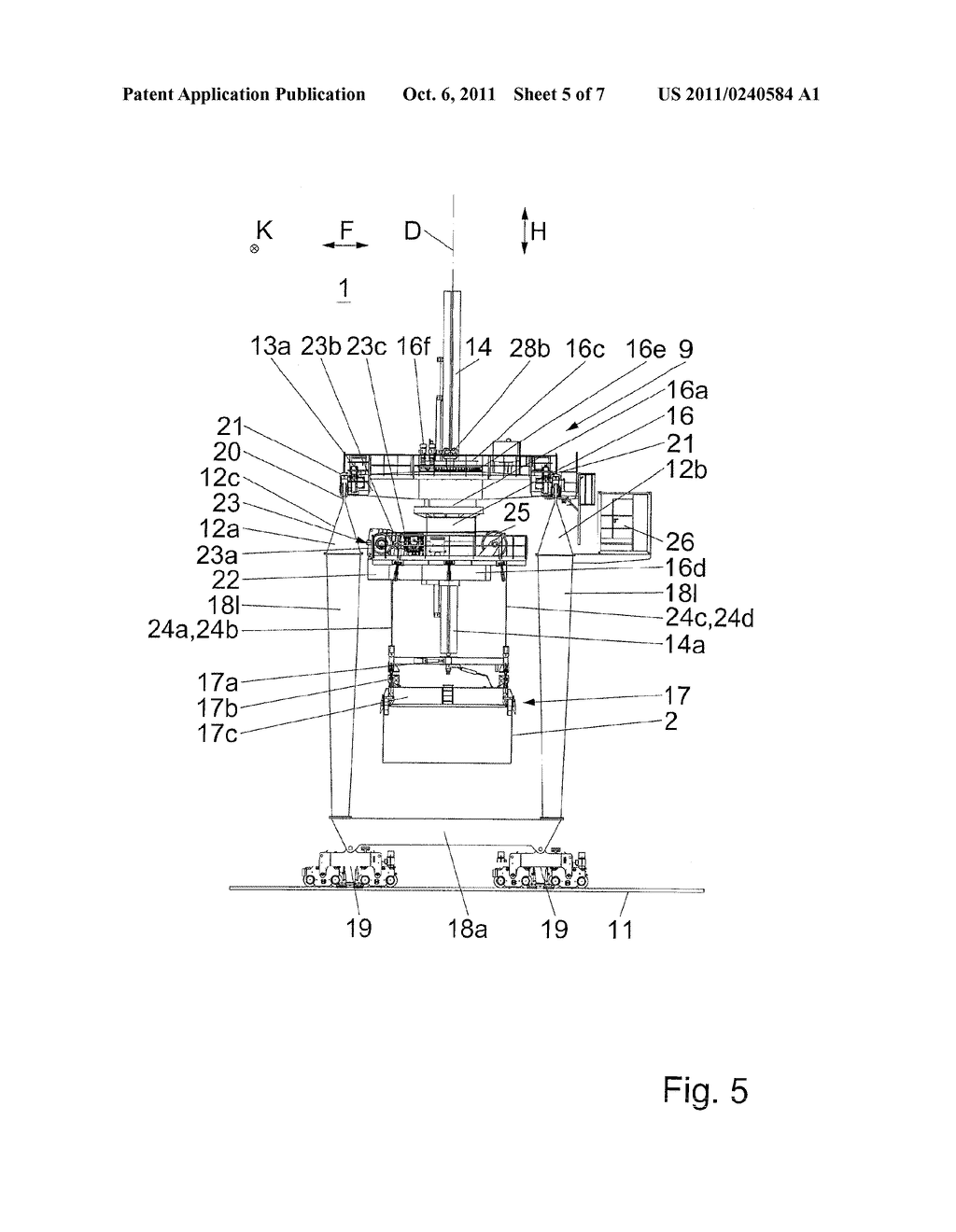 BRIDGE CRANE OR GANTRY CRANE COMPRISING A REVOLVING ARRANGEMENT AND     LIFTING FRAMES SUSPENDED THEREUNDER - diagram, schematic, and image 06