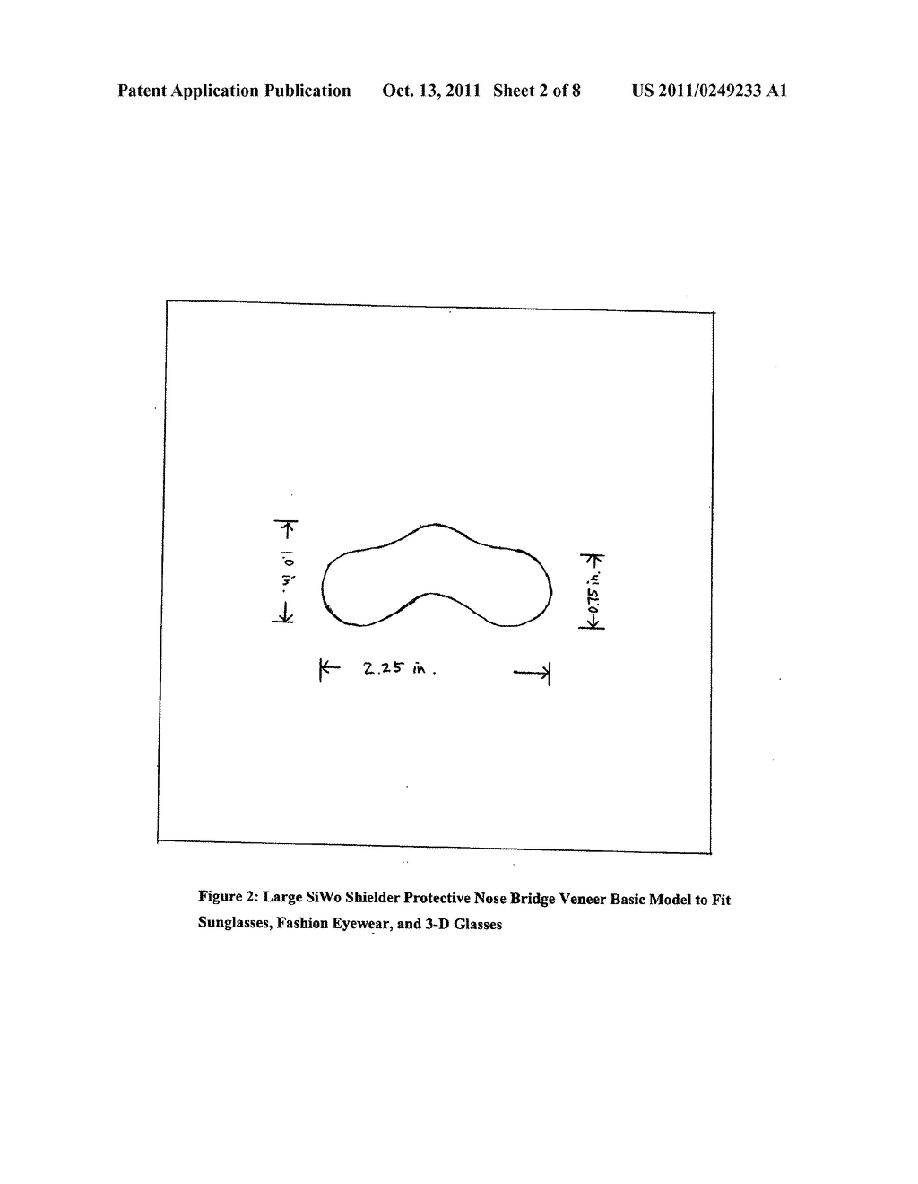 Leather/suede nose bridge vaneer (known as SiWo shielder) for preventing     indentions, inflammation, scars, marks and discoloration caused by the     stem of eyeglasses, sunglasses, fashion eye wears, and 3-D glasses - diagram, schematic, and image 03