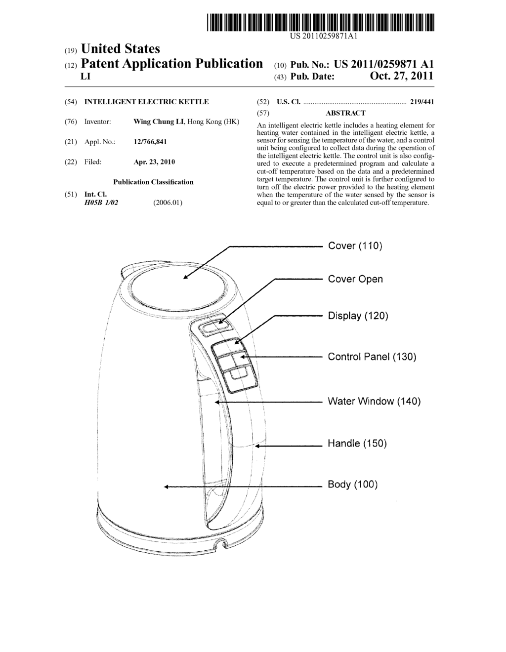 INTELLIGENT ELECTRIC KETTLE - diagram, schematic, and image 01Patents