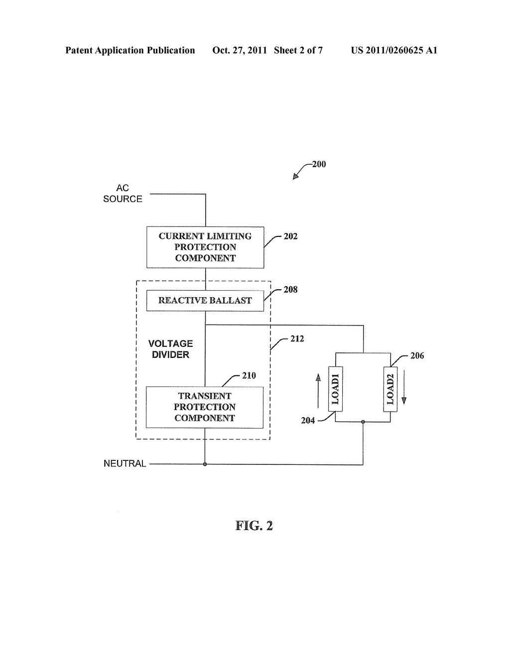 METHOD AND APPARATUS FOR POWERING ONE OR MORE LOADS FROM AN AC SOURCE     USING A CAPACITIVE BALLAST - diagram, schematic, and image 03