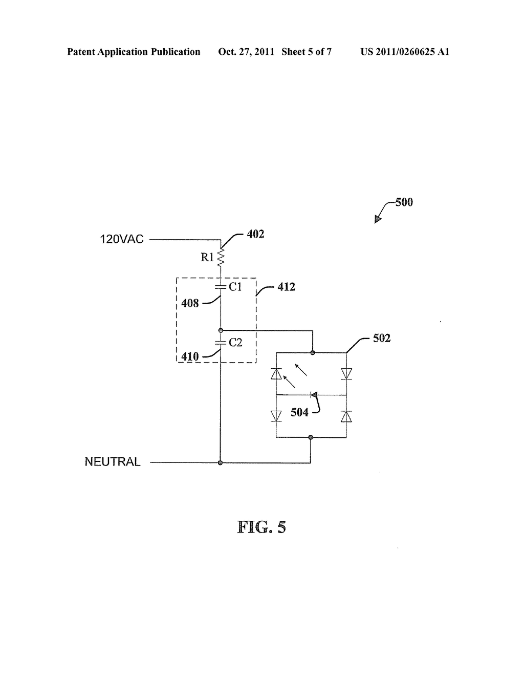 METHOD AND APPARATUS FOR POWERING ONE OR MORE LOADS FROM AN AC SOURCE     USING A CAPACITIVE BALLAST - diagram, schematic, and image 06