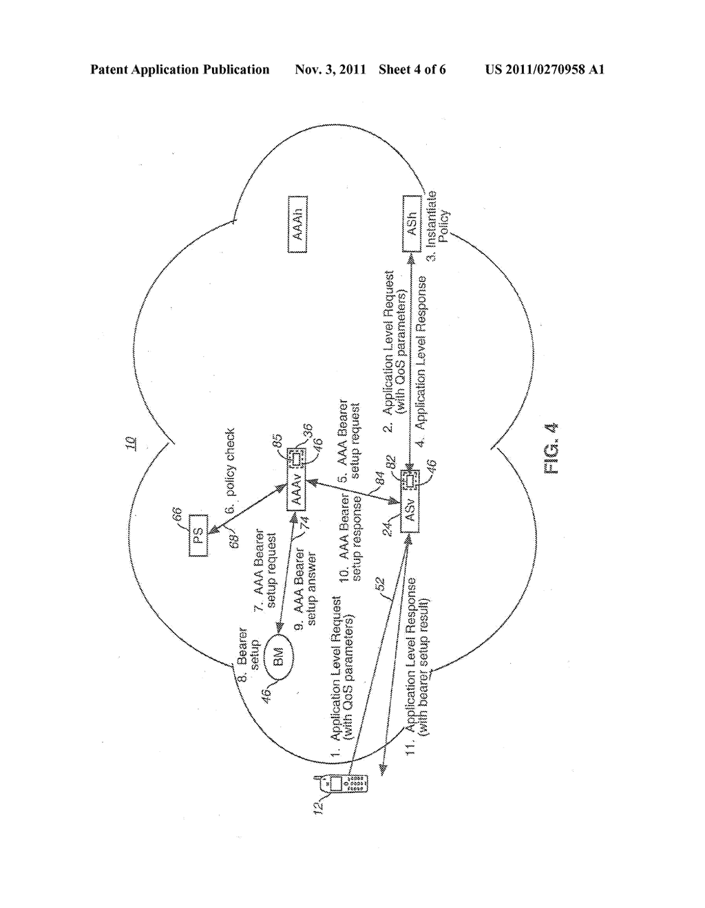 APPARATUS, AND ASSOCIATED METHOD, FOR FACILITATING QoS AND BEARER SETUP IN     AN IP-BASED COMMUNICATION SYSTEM - diagram, schematic, and image 05
