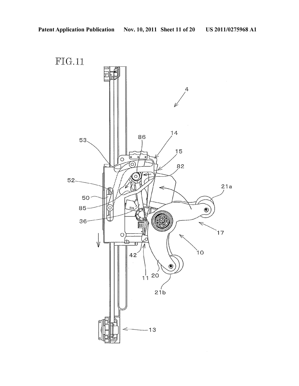 BACK KNEADING DEVICE MOUNTED IN CHAIR-TYPE MASSAGE APPARATUS AND     CHAIR-TYPE MASSAGE APPARATUS EQUIPPED WITH THE BACK KNEADING DEVICE - diagram, schematic, and image 12