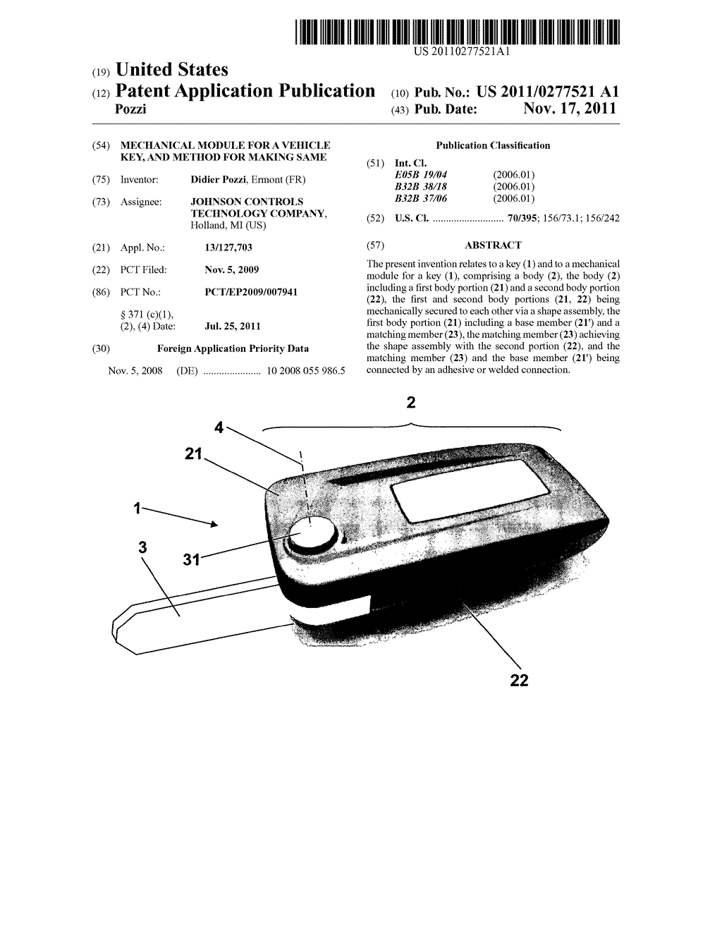 MECHANICAL MODULE FOR A VEHICLE KEY, AND METHOD FOR MAKING SAME - diagram, schematic, and image 01