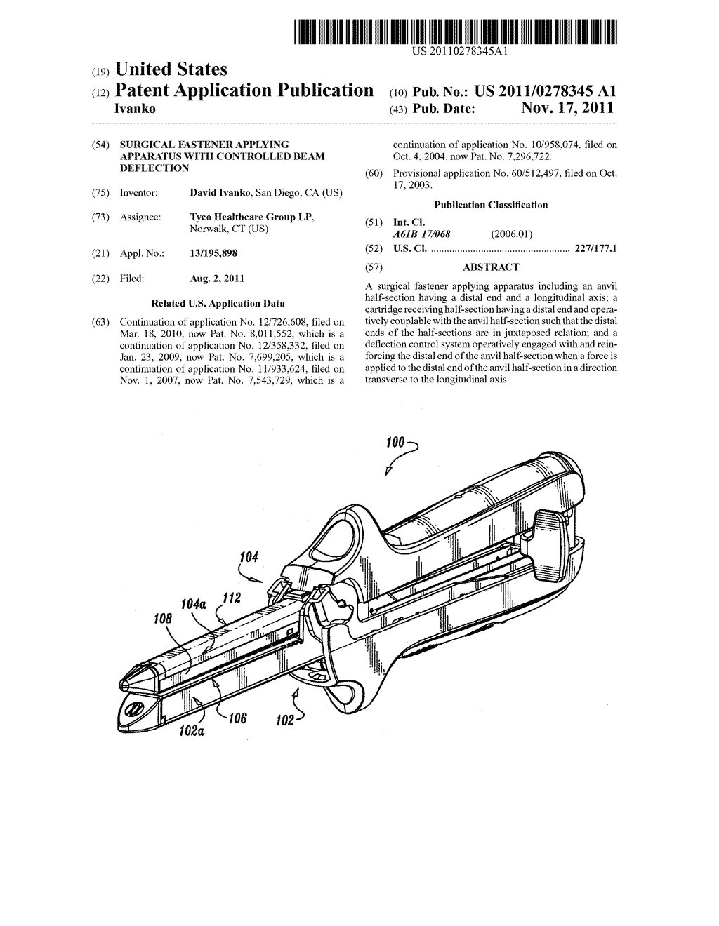 Surgical Fastener Applying Apparatus With Controlled Beam Deflection Diagram Schematic And Image 01