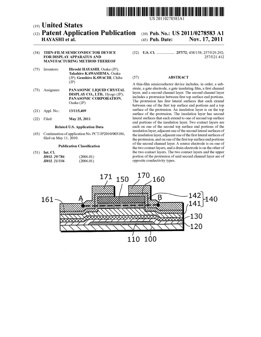 THIN-FILM SEMICONDUCTOR DEVICE FOR DISPLAY APPARATUS AND MANUFACTURING     METHOD THEREOF - diagram, schematic, and image 01