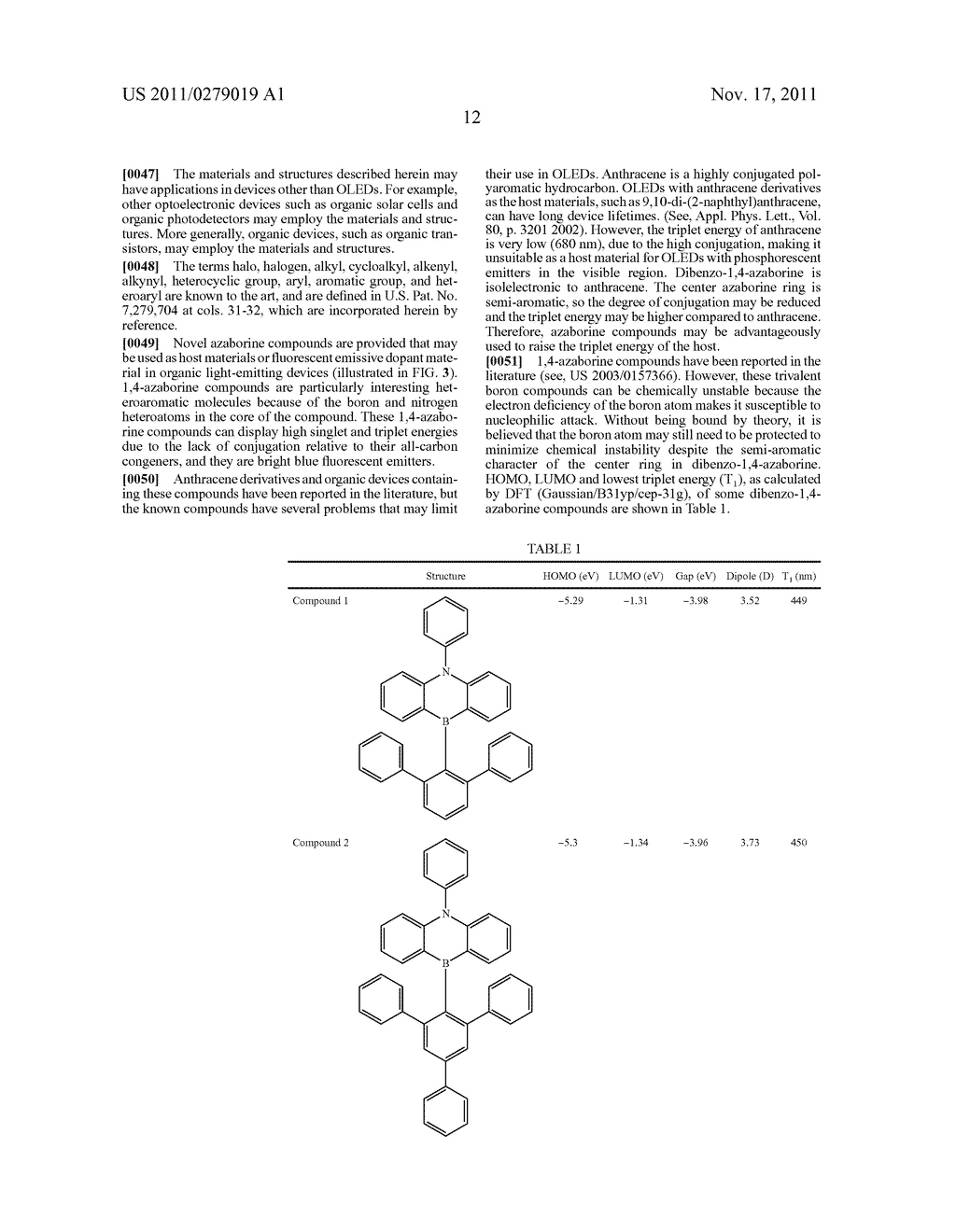 AZABORININE COMPOUNDS AS HOST MATERIALS AND DOPANTS FOR PHOLEDS - diagram, schematic, and image 19