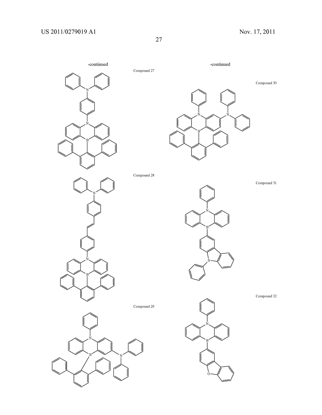AZABORININE COMPOUNDS AS HOST MATERIALS AND DOPANTS FOR PHOLEDS - diagram, schematic, and image 34
