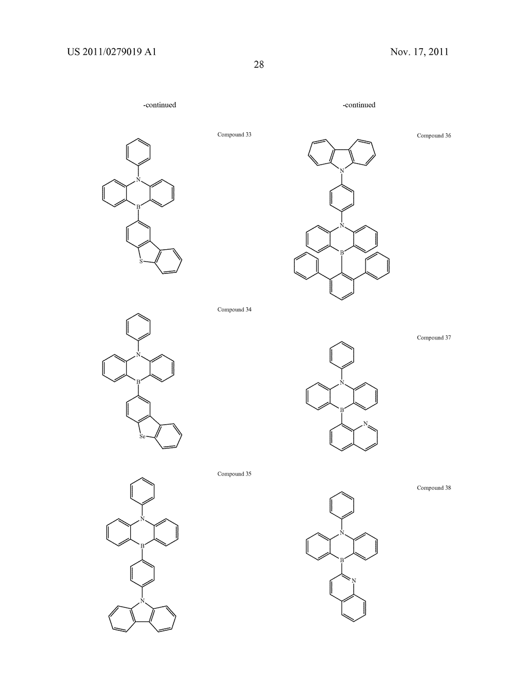AZABORININE COMPOUNDS AS HOST MATERIALS AND DOPANTS FOR PHOLEDS - diagram, schematic, and image 35