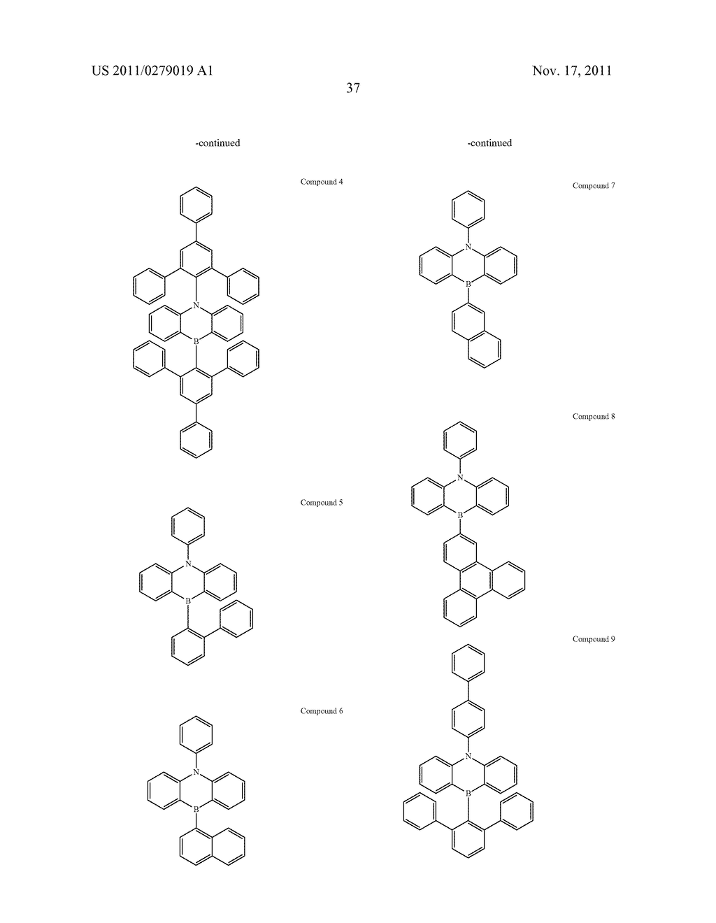 AZABORININE COMPOUNDS AS HOST MATERIALS AND DOPANTS FOR PHOLEDS - diagram, schematic, and image 44