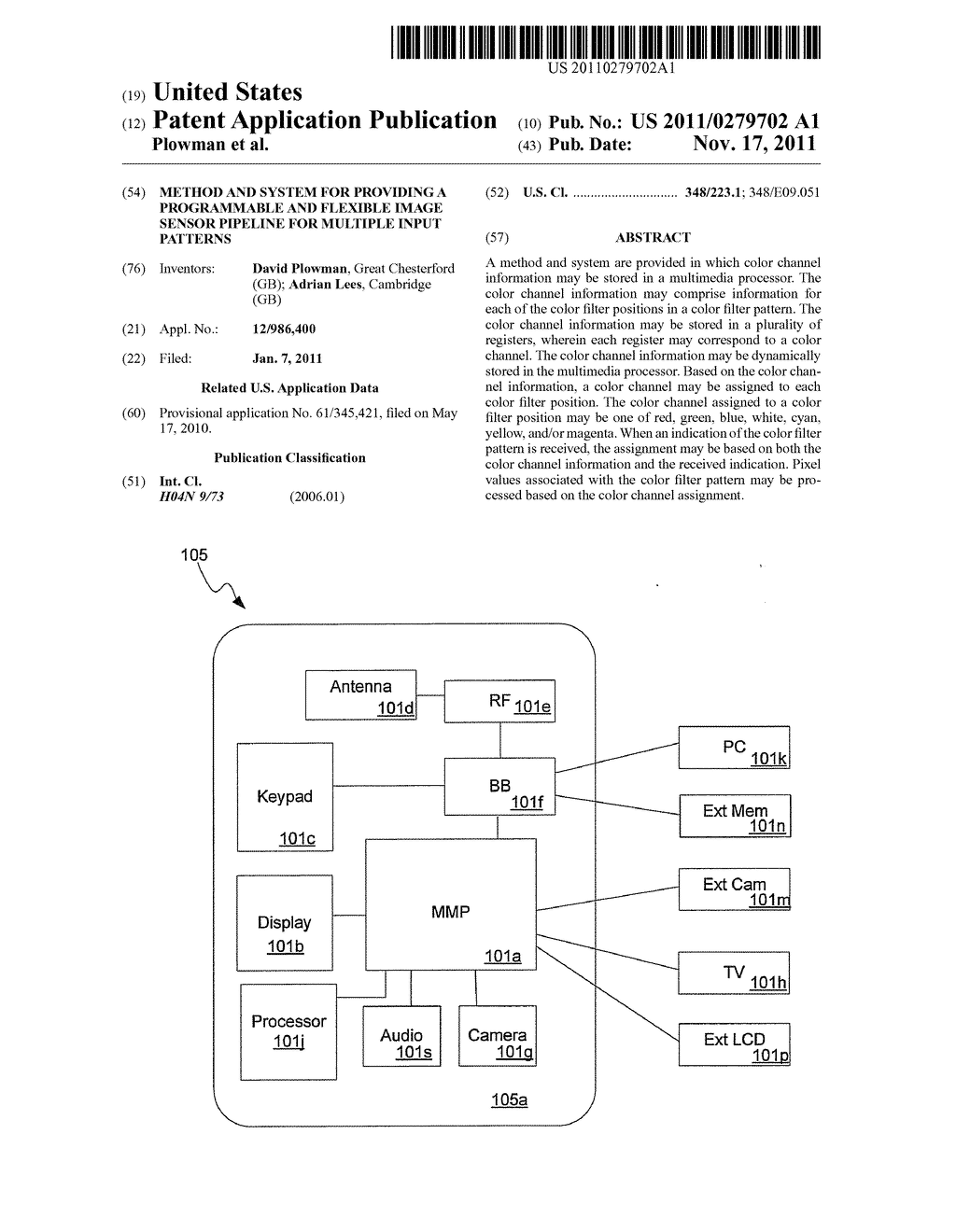 Method and System for Providing a Programmable and Flexible Image Sensor     Pipeline for Multiple Input Patterns - diagram, schematic, and image 01