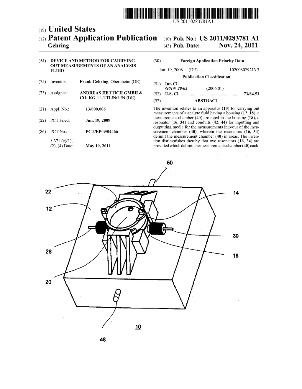 DEVICE AND METHOD FOR CARRYING OUT MEASUREMENTS OF AN ANALYSIS FLUID - diagram, schematic, and image 01