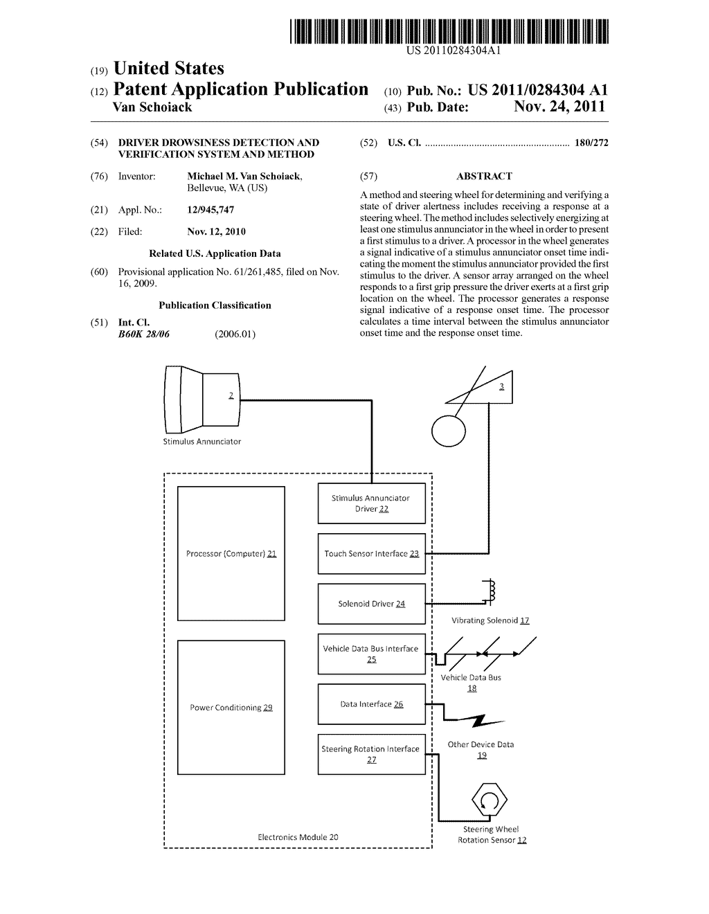 DRIVER DROWSINESS DETECTION AND VERIFICATION SYSTEM AND METHOD - diagram, schematic, and image 01