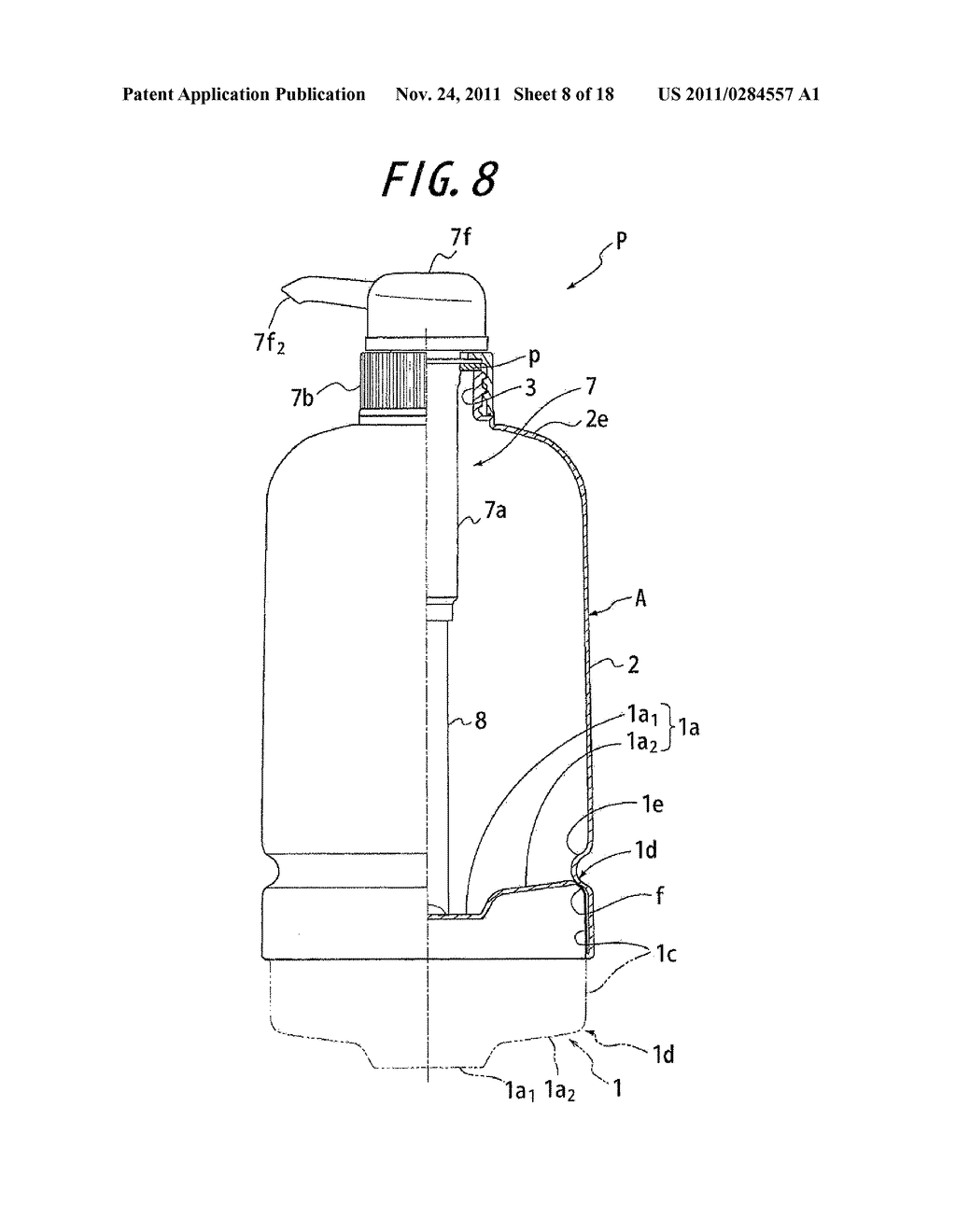 SYNTHETIC RESIN CONTAINER HAVING INVERTED, FOLDED BACK BOTTOM WALL - diagram, schematic, and image 09