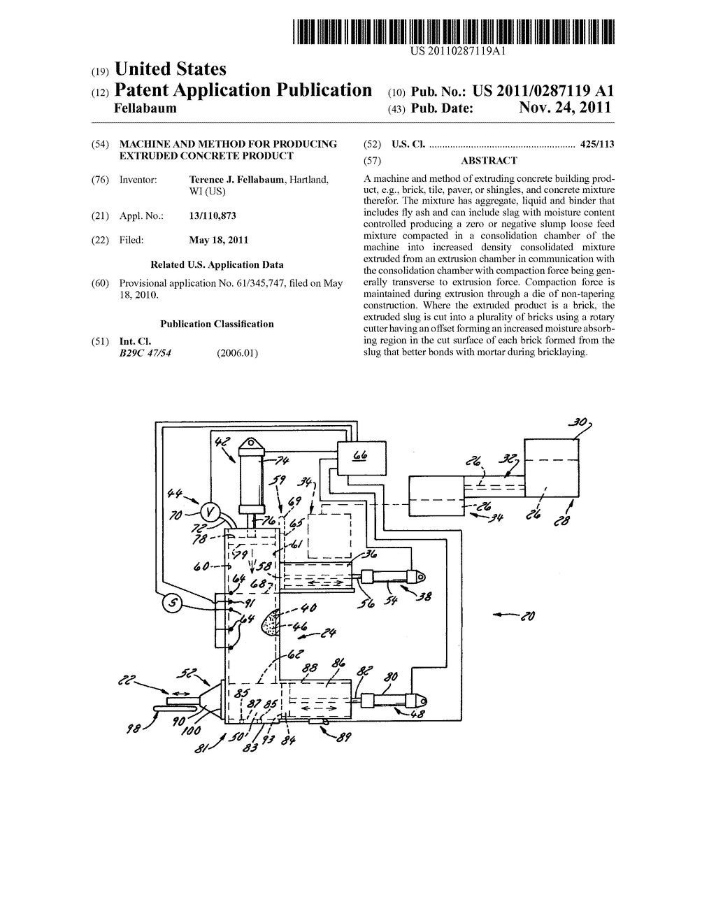 Machine and Method for Producing Extruded Concrete Product - diagram, schematic, and image 01