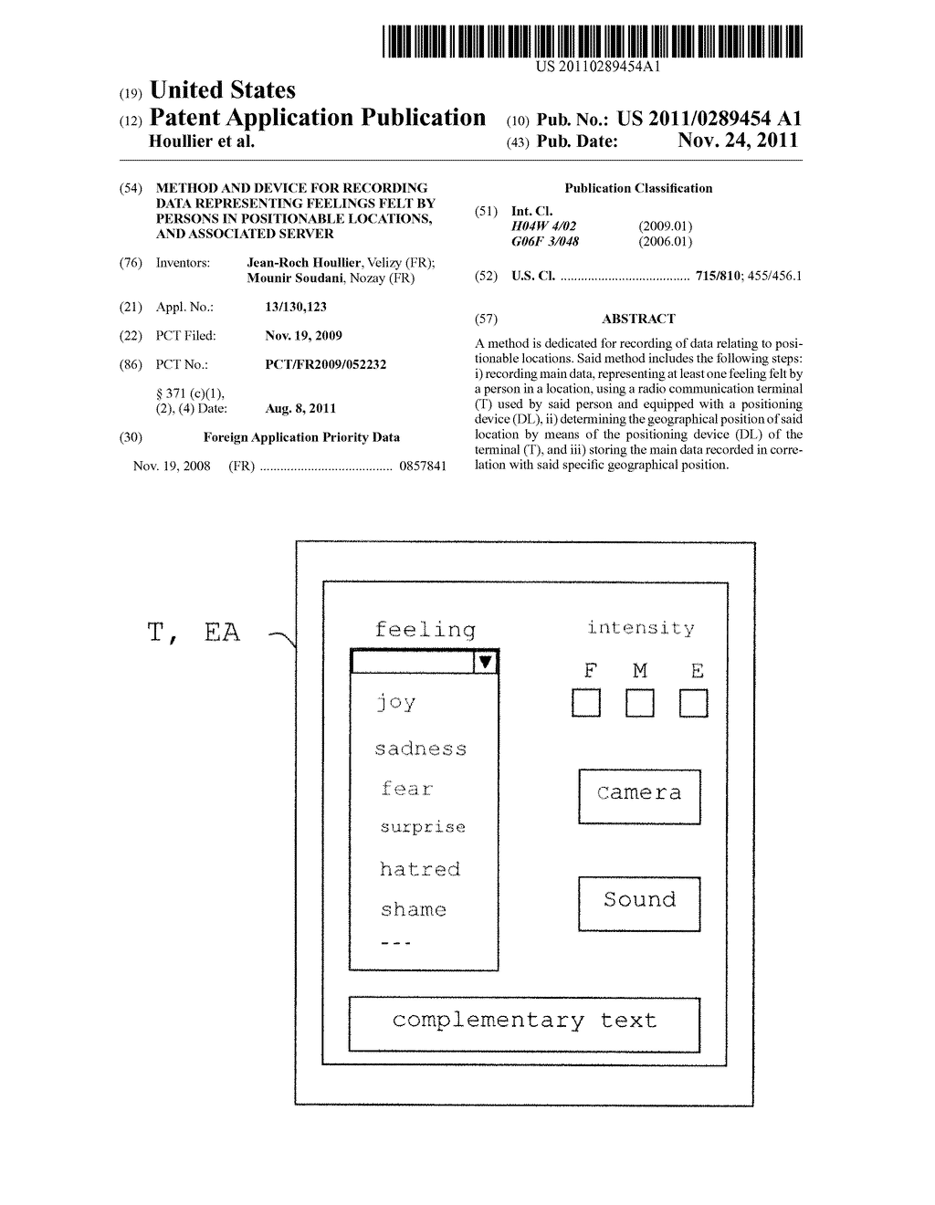 METHOD AND DEVICE FOR RECORDING DATA REPRESENTING FEELINGS FELT BY PERSONS     IN POSITIONABLE LOCATIONS, AND ASSOCIATED SERVER - diagram, schematic, and image 01