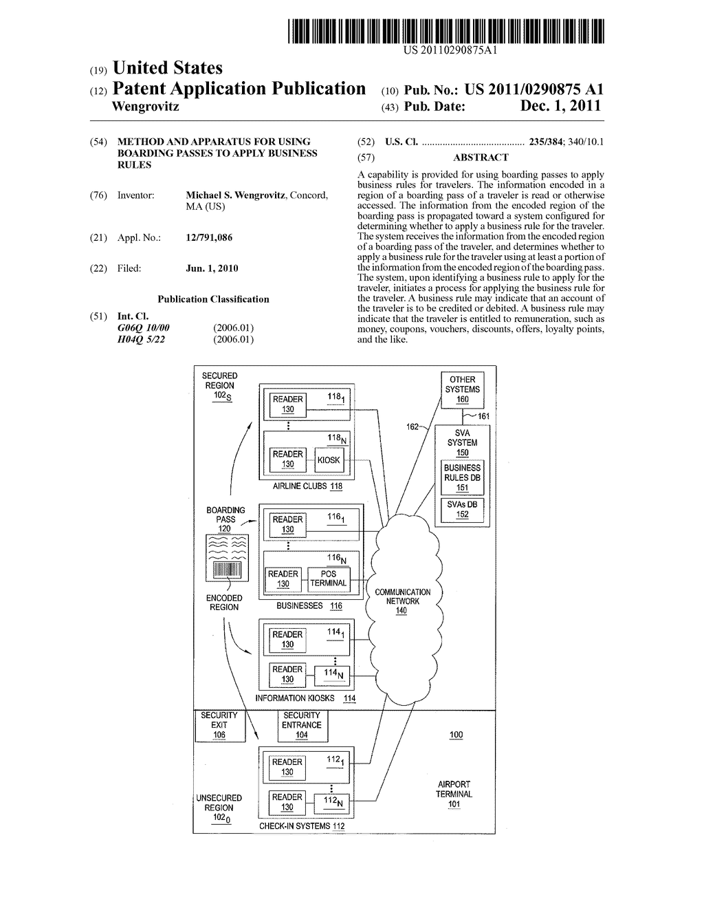 METHOD AND APPARATUS FOR USING BOARDING PASSES TO APPLY BUSINESS RULES - diagram, schematic, and image 01