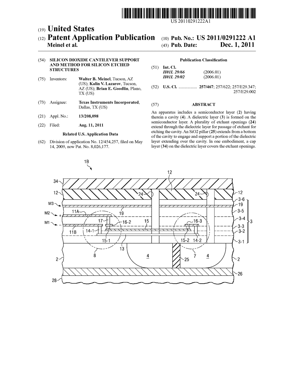 SILICON DIOXIDE CANTILEVER SUPPORT AND METHOD FOR SILICON ETCHED     STRUCTURES - diagram, schematic, and image 01