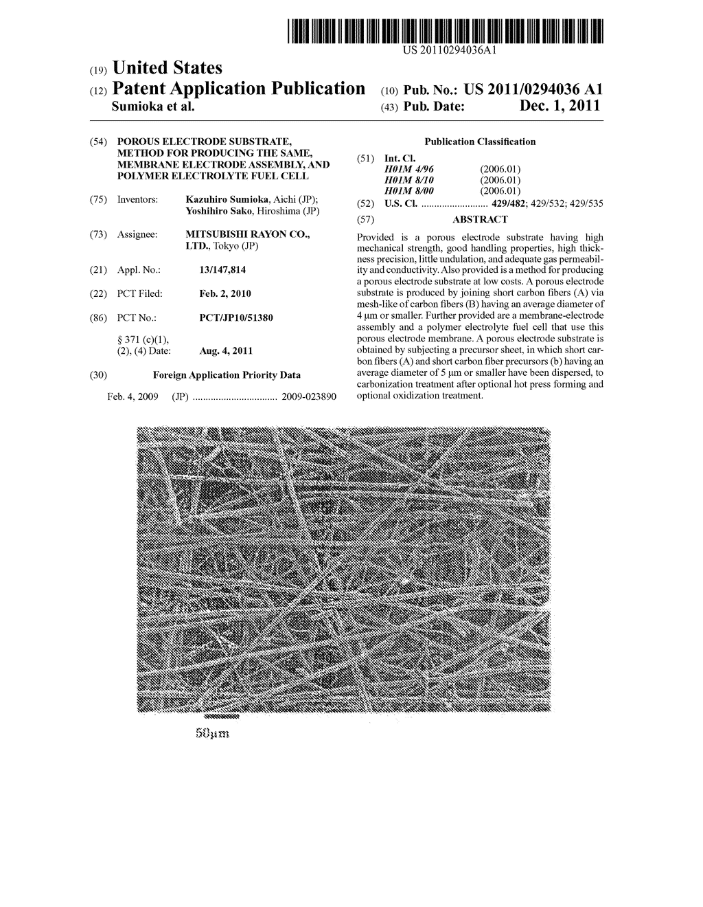 POROUS ELECTRODE SUBSTRATE, METHOD FOR PRODUCING THE SAME, MEMBRANE     ELECTRODE ASSEMBLY, AND POLYMER ELECTROLYTE FUEL CELL - diagram, schematic, and image 01