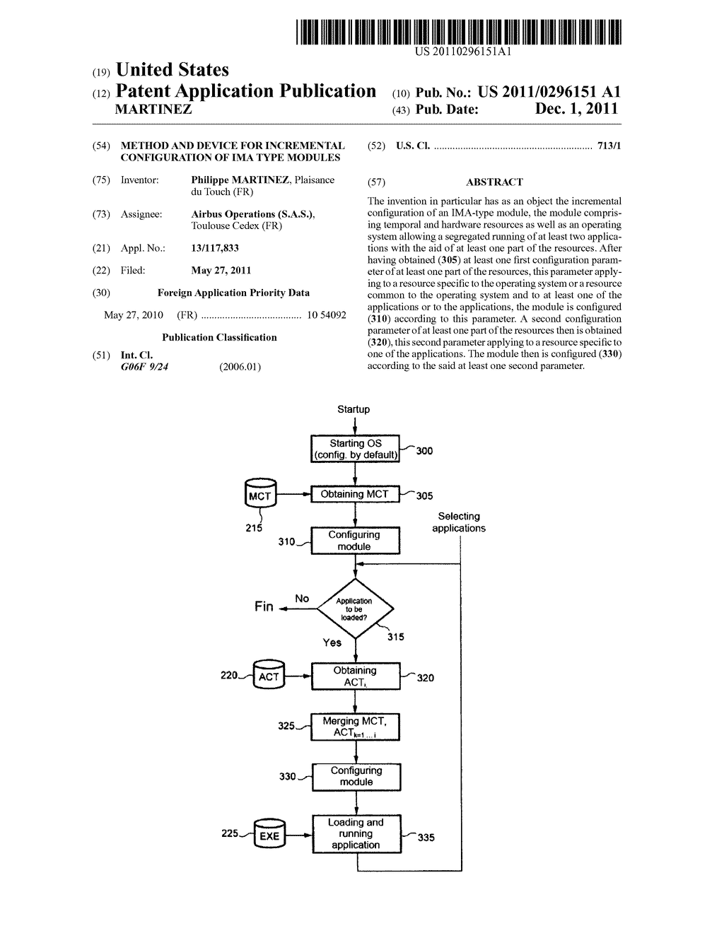 METHOD AND DEVICE FOR INCREMENTAL CONFIGURATION OF IMA TYPE MODULES - diagram, schematic, and image 01