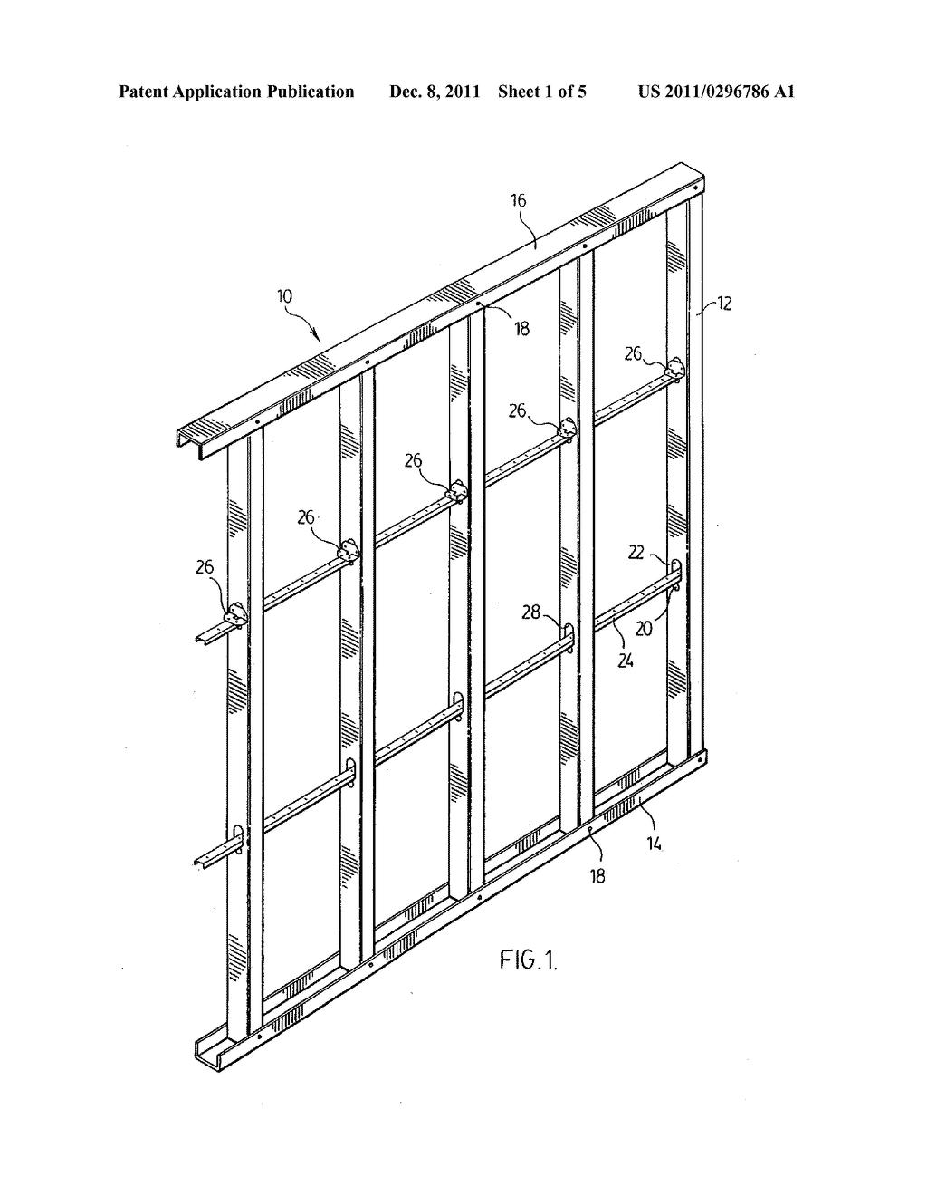 bracket and bridging member for metal stud wall diagram schematic