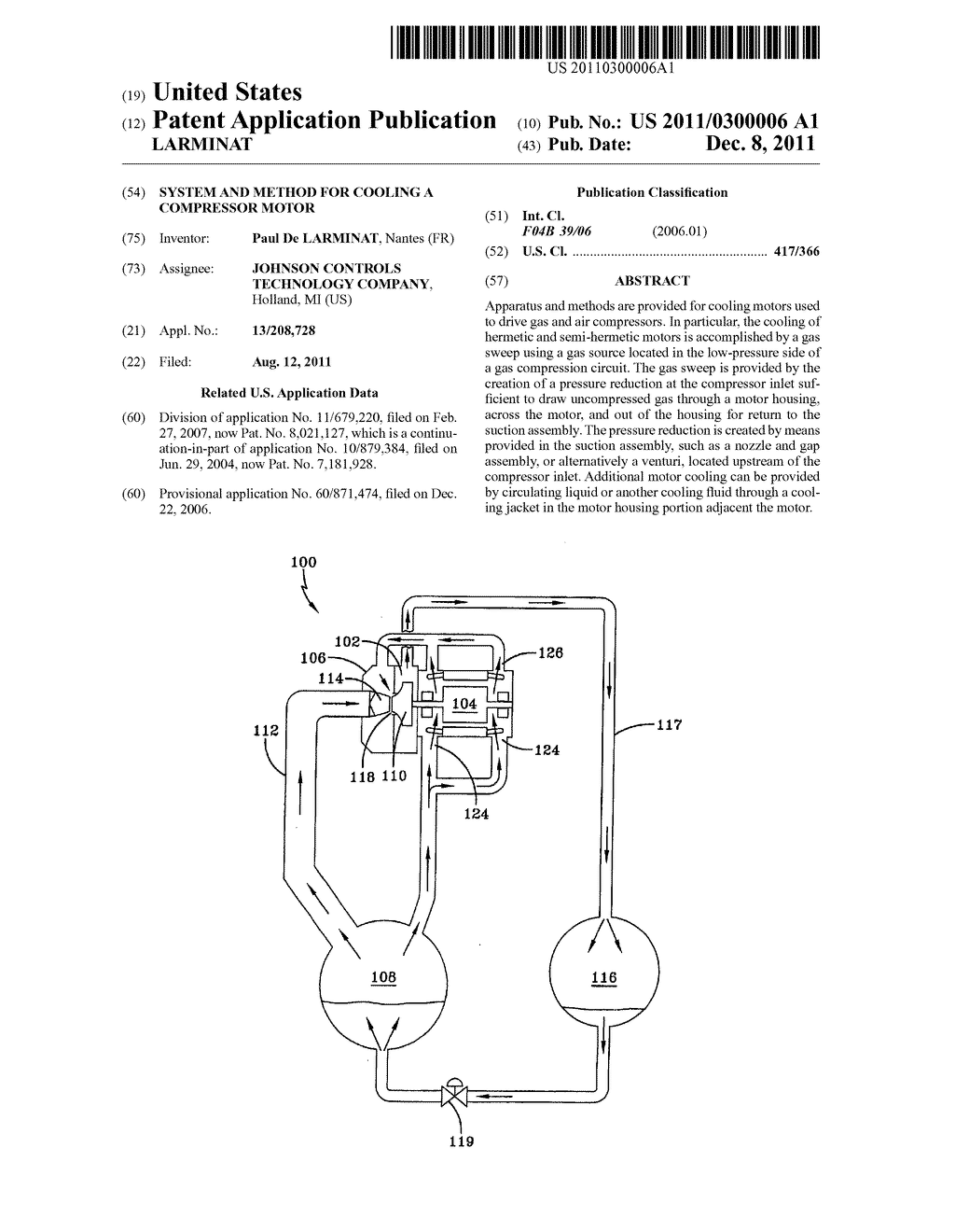 SYSTEM AND METHOD FOR COOLING A COMPRESSOR MOTOR - diagram, schematic, and image 01
