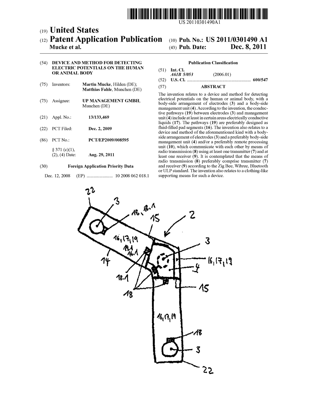 DEVICE AND METHOD FOR DETECTING ELECTRIC POTENTIALS ON THE HUMAN OR ANIMAL     BODY - diagram, schematic, and image 01