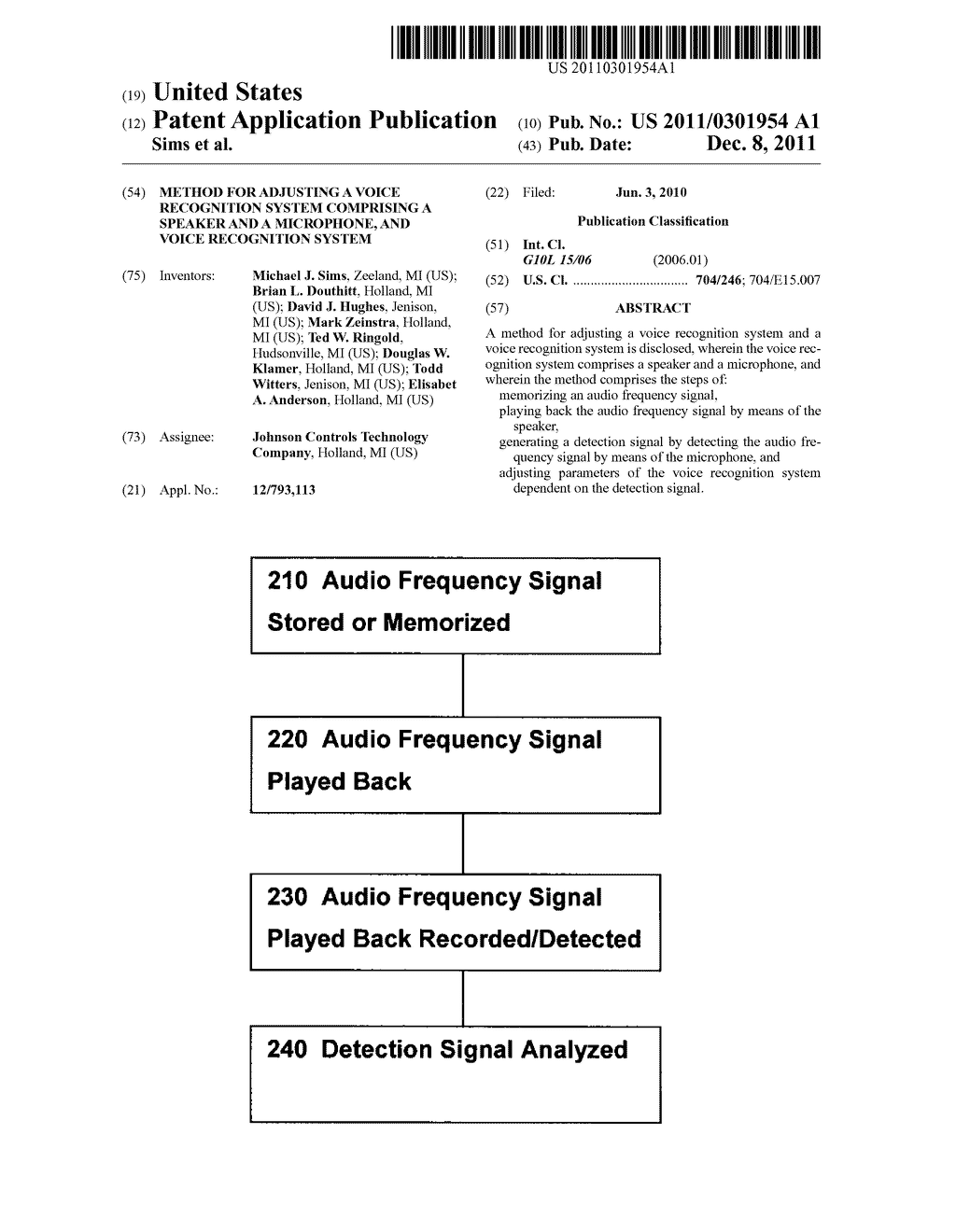METHOD FOR ADJUSTING A VOICE RECOGNITION SYSTEM COMPRISING A SPEAKER AND A     MICROPHONE, AND VOICE RECOGNITION SYSTEM - diagram, schematic, and image 01
