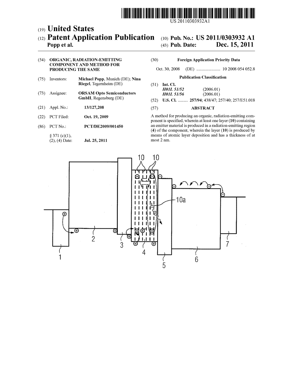 Organic, Radiation-Emitting Component and Method for Producing the Same - diagram, schematic, and image 01