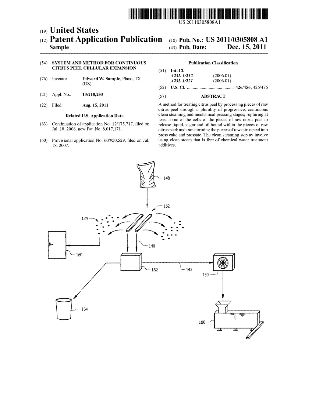 SYSTEM AND METHOD FOR CONTINUOUS CITRUS PEEL CELLULAR EXPANSION - diagram, schematic, and image 01