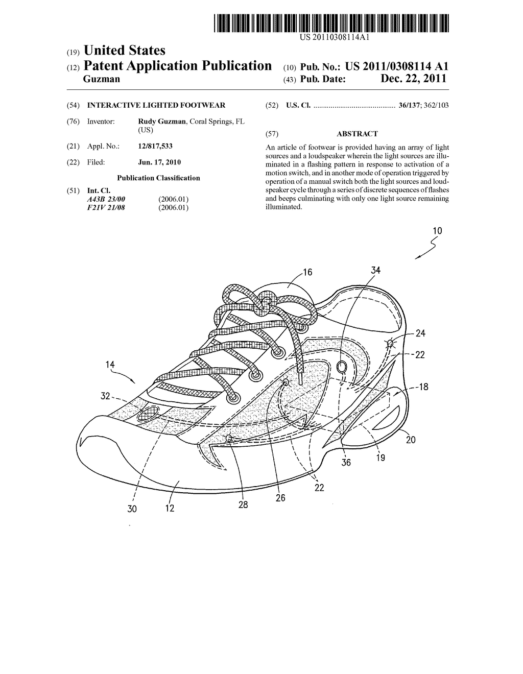 INTERACTIVE LIGHTED FOOTWEAR - diagram, schematic, and image 01