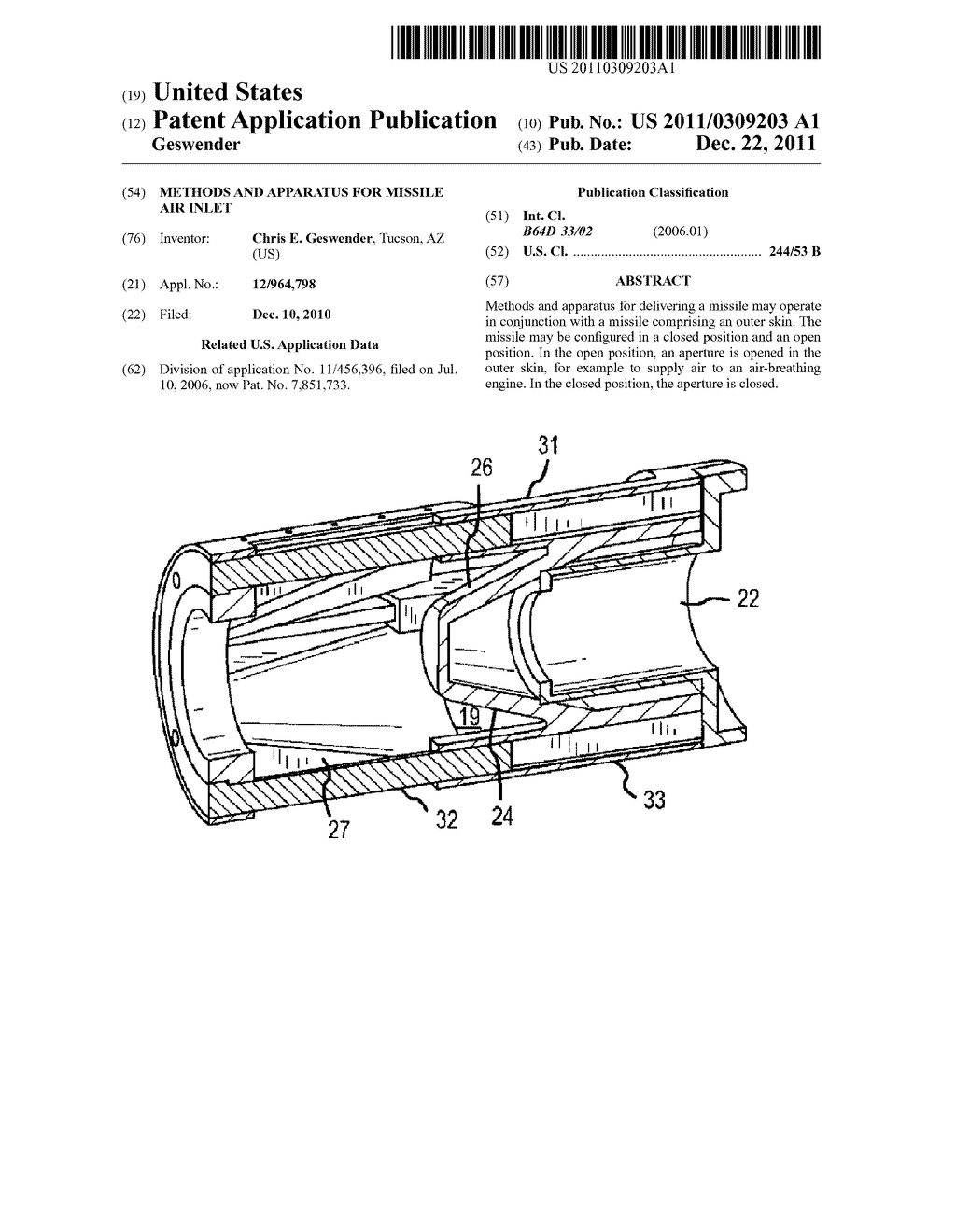 METHODS AND APPARATUS FOR MISSILE AIR INLET - diagram, schematic, and image 01