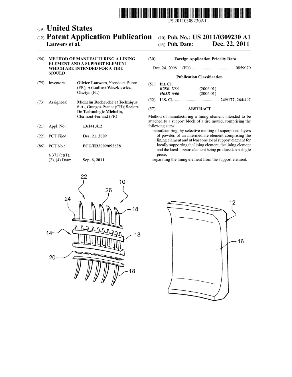 METHOD OF MANUFACTURING A LINING ELEMENT AND A SUPPORT ELEMENT WHICH ARE     INTENDED FOR A TIRE MOULD - diagram, schematic, and image 01