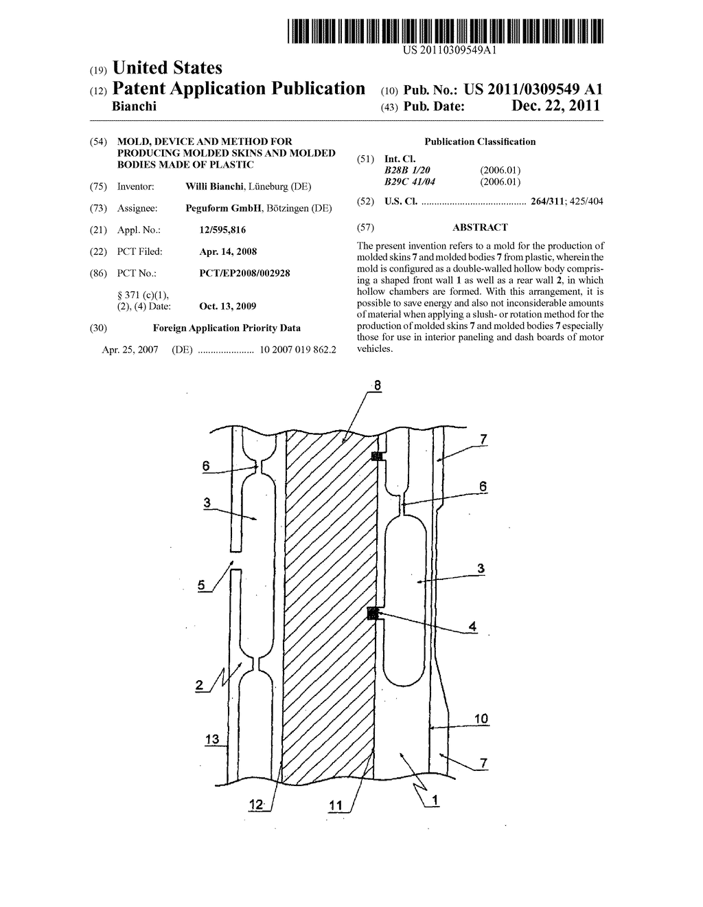 MOLD, DEVICE AND METHOD  FOR PRODUCING MOLDED SKINS AND MOLDED BODIES MADE     OF PLASTIC - diagram, schematic, and image 01