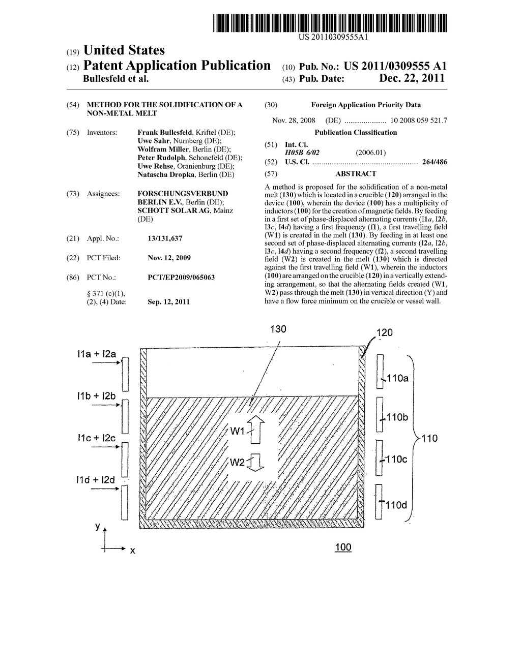 METHOD FOR THE SOLIDIFICATION OF A NON-METAL MELT - diagram, schematic, and image 01