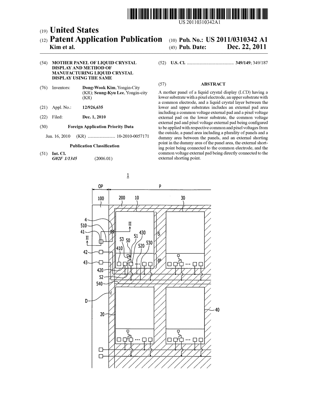 Mother panel of liquid crystal display and method of manufacturing liquid     crystal display using the same - diagram, schematic, and image 01