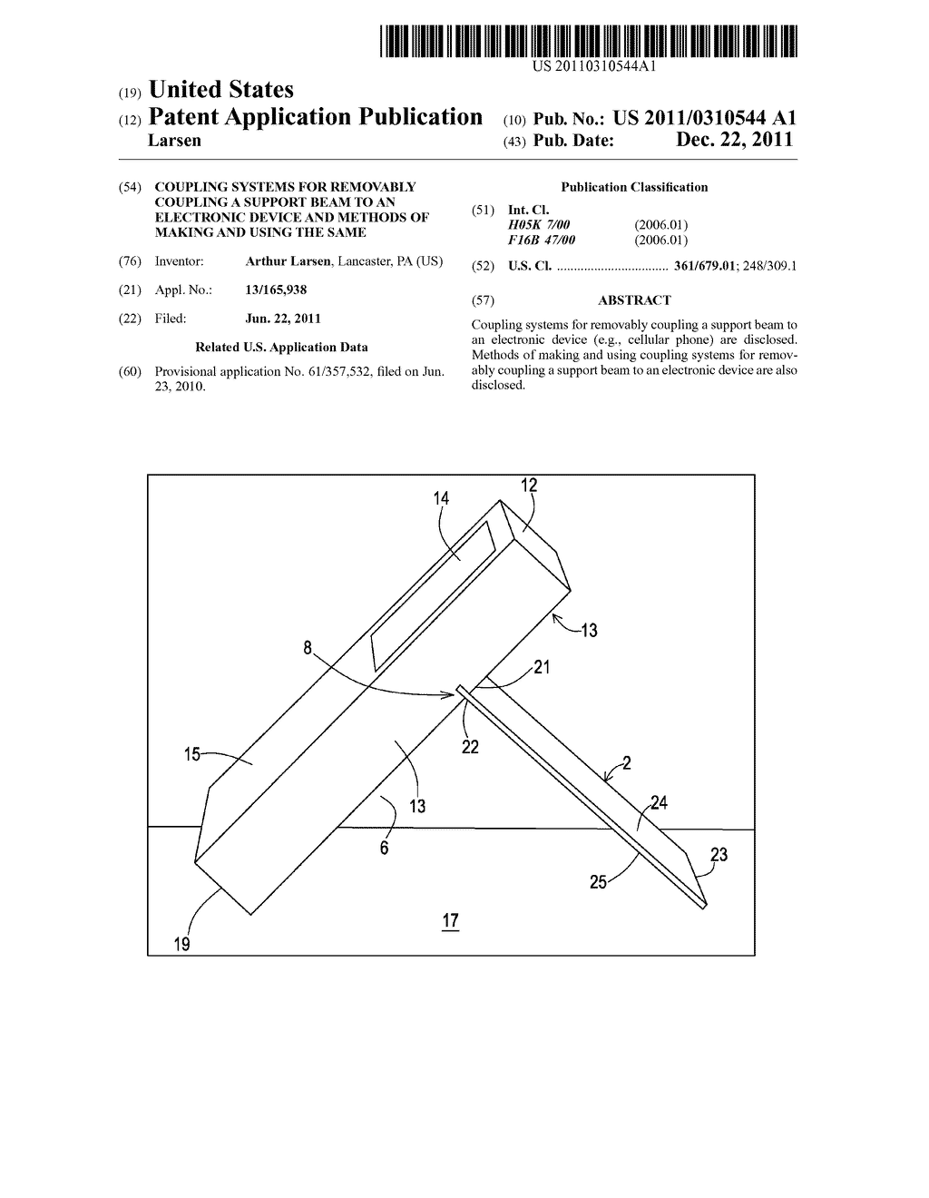 Coupling Systems for Removably Coupling a Support Beam to an Electronic     Device and Methods of Making and Using the Same - diagram, schematic, and image 01