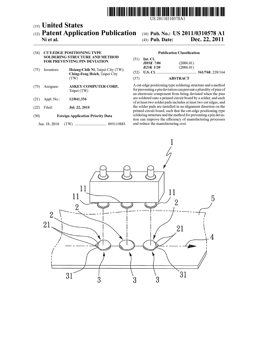 CUT-EDGE POSITIONING TYPE SOLDERING STRUCTURE AND METHOD FOR PREVENTING     PIN DEVIATION - diagram, schematic, and image 01