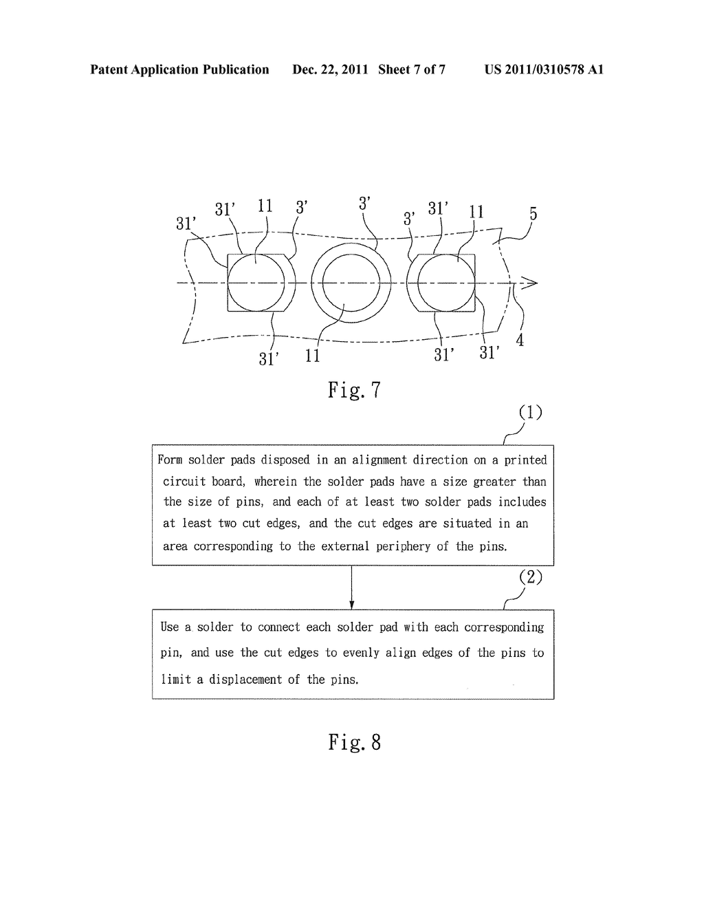 CUT-EDGE POSITIONING TYPE SOLDERING STRUCTURE AND METHOD FOR PREVENTING     PIN DEVIATION - diagram, schematic, and image 08